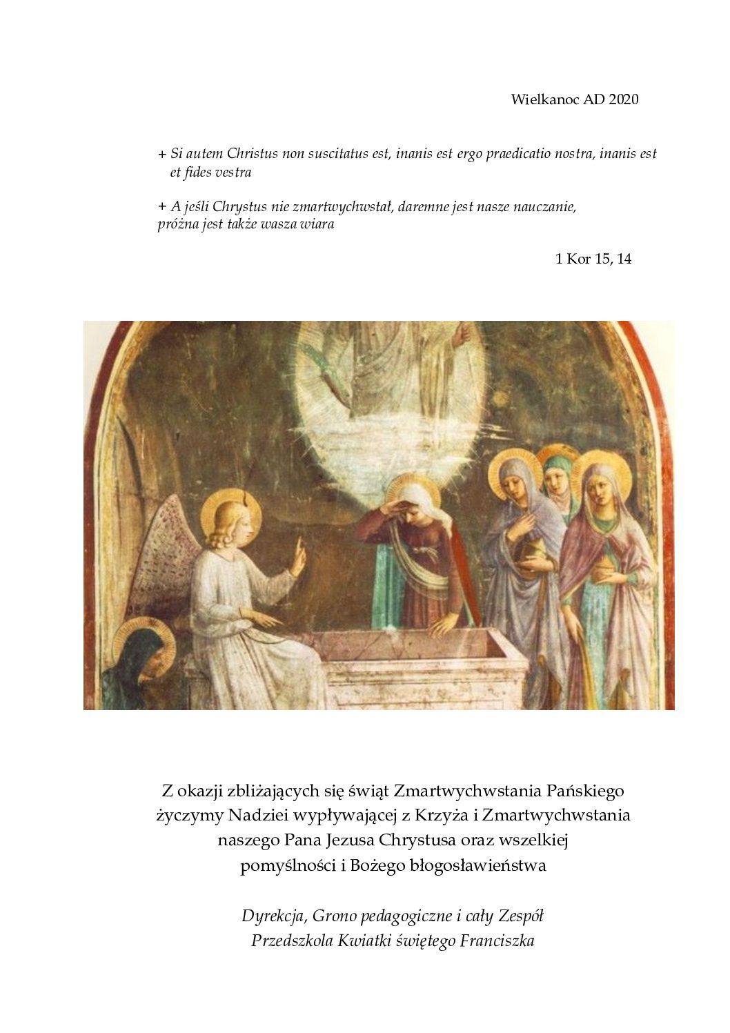 Błogosławionych Świąt Zmartwychwstania Pana